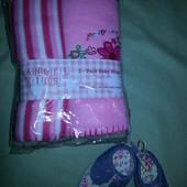 Детский плед, комплект 2 шт 75*100 + подарок пинетки