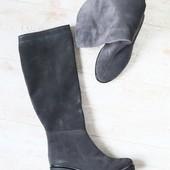 Зимние женские сапоги, темно-серые, замшевые, на небольшом устойчивом каблуке