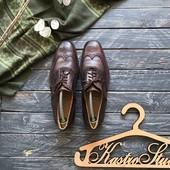 Шикарные мужские кожаные туфли броги р-р 41