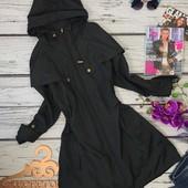 Легкое демисезонное пальто практичного фасона с капюшоном  OW3748