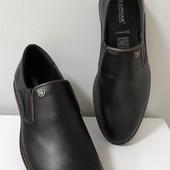 Туфли стильные черные нат.кожа
