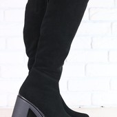 Зимние женские сапоги-европейка, замшевые, на небольшом устойчивом каблуке
