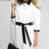 (697) Платье женское с кожаной отделкой Белое