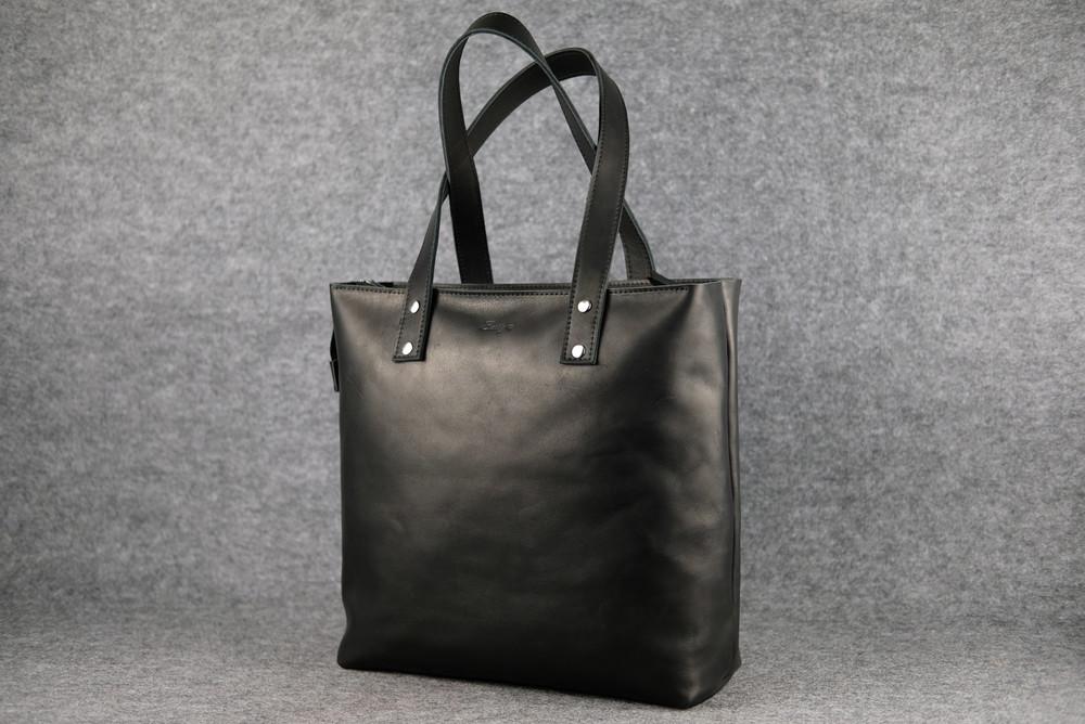37ff9f3779c9 Кожа. ручная работа. большая черная кожаная женская сумка шопер фото №1