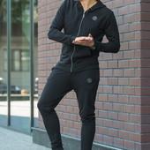 Мужской спортивный костюм  черный. Размеры  с 42 по  48