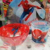 Детская посуда из стекла Человек Паук ,3 предмета