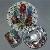 Детский набор посуды Monster High,3 предмета