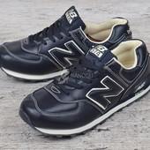 Кроссовки кожаные New Balance 574 мужские темно-синие с бежевым