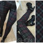 Модные штаны - лосины женские в клетку, в двух размерах (S-M), (L-XL)
