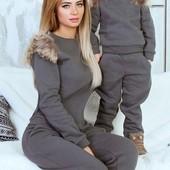 Размеры 42-48 Стильный теплый женский спортивный костюм