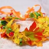 Венок веночек осенний с листьми на голову