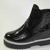 Стильные лаковые демисезонные ботинки - 36,37,38,39,40,41