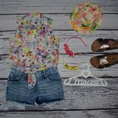 8 - 9 лет 134 см рубашка блузка блуза для модниц легкая натуральная цветы