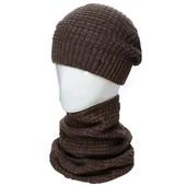 Стильный молодежный комплект из шапки( флис внутри) и шарф-снуд 56-60