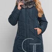 Однотонная зимняя куртка удлиненного фасона.  Большие размеры