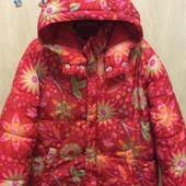 H&M яркая зимняя широкая куртка для девочки р.11-13л.