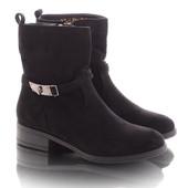 Стильные женские замшевые ботинки на низком каблуке