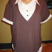 Трикотажная блуза с тканевыми вставками,р.52-54(20). Amaranto (Амаранто).