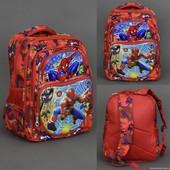 Рюкзак школьный 555-453 Человек Паук, 5 отделений, 2 кармана, спинка ортопедическая