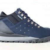 Ботинки мужские, зимние, из натурального нубука, темно-синие, на меху, на шнурках