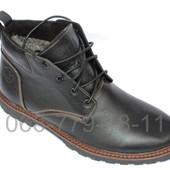 Кожаные мужские ботинки черного цвета