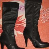 кожаные сапоги женские высокие