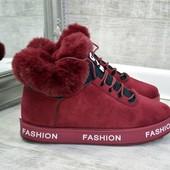 Женские  ботинки марсала