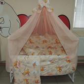 Комплект постельного в кроватку мишки соты бежевый 9 в 1
