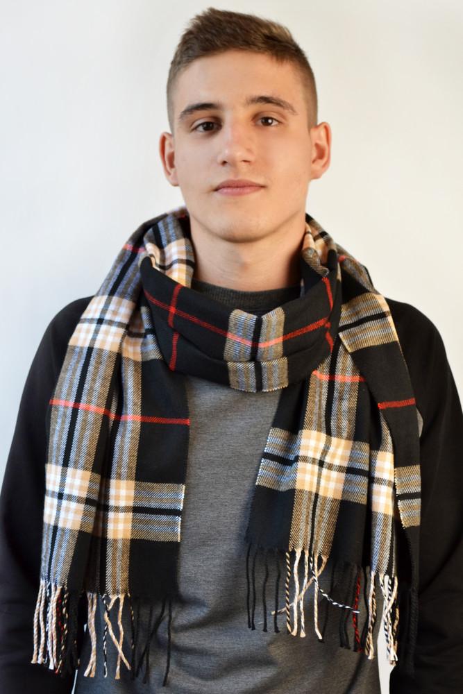 Мужские шарфы отличного качества,клетка.3 расцветки. фото №1