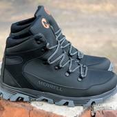 Мужские кожаные ботинки Merrell. Защищенные, Кожа и шерсть. Крепкая обувь