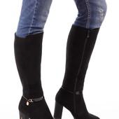 Женские демисезонные сапоги на каблуке
