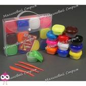 Тесто для лепки 8881 в кейсе, 12 цветов по 20 грамм, инструменты для резки и моделирования