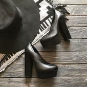 Кожаные туфли на платформе и каблуке River Island р-р 36