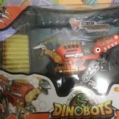Динобот-трансформер - Велоцираптор 30 см, бластер, мишень, 20 стрел