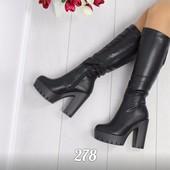 код 278 Сапожки на каблуке (зима)  Материал: эко-кожа, мех по всей длине  Размеры: 36-40(размер разм