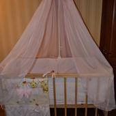 Кровать, матрац, защита, балдахин, простыни для девочки