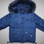 Очень теплая зимняя куртка / курточка 4-5 лет (натуральный мех)