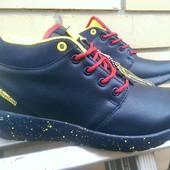Ботинки зимние с красной шнуровкой, т.синий