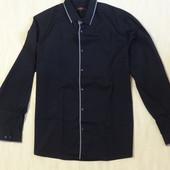 Стильная черная рубашка с серым кантом  George, р.52