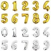 Фольгированные воздушные шары цифры золото , серебро