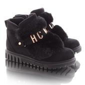 Стильные зимние женские замшевые короткие ботинки