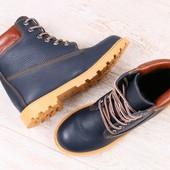 Зимние женские ботинки, темно-синие, из натуральной кожи, на меху, на шнурках