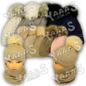 Детский комплект - вязаная шапка с помпоном и хомут, Agbo (Польша)