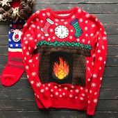 Новогодний мужской свитер с интерактивным камином Cedarwood State L