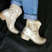 Замша,Кожа!Новые Франция san marina Оригинал серебристые ботинки,сапоги,козачки 39р