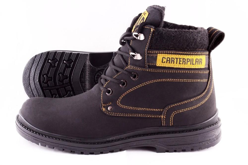 Мужские зимние ботинки на меху черные фото №1