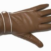 Кожаные перчатки женские на меху.