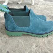 Эксклюзивные ботинки челси резиночка сбоку деми морская волна натуральные замшевые кожа