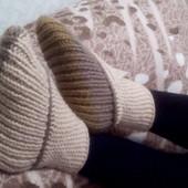 Вязаные носки-тапочки ручная работа, новые