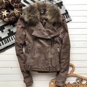 Кожаная куртка косуха с мехом рр М